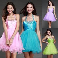 Fashion New Pink Sweet Halter-neck Sleeveless Short evening dress purple prom dresses vestidos de fiesta party dresses gown E89
