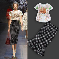 Free shipping 2014 Spring and Summer New European American Catwalk Printing Top Polka Dot Fishtail skirt Two pieces women suits