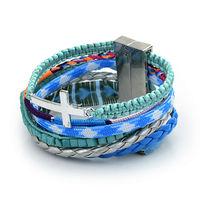 2014 New fashion Vintage Braided Handmade Bracelet Multilayer beach Bracelets with cross Charm Wrap bracelets & bangles LX5B002