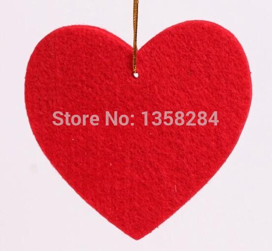 9 * 9cm red felt love peach pendant models Christmas decorations hanging three packs 15g(China (Mainland))
