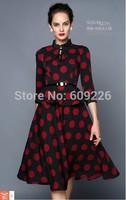 2014 autumn faux two piece ruffle neckline three quarter sleeve slim one-piece dress