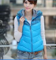 New 2014 spring autumn winter women vest fashion slim down cotton vest with a hood outerwear thickening plus size vest waistcoat