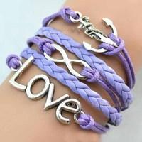 CMB011 Girl Jewelry Vintage Braided Anchors Rudder Metal Leather Bracelet Multilayer Rope Bracelets Wrap Bracelets