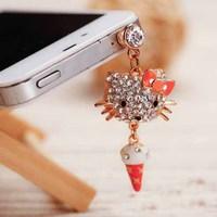 Korean Rhinestone Kitty Cat Mobile Phone Chain Accessories Dust Plug  SP066