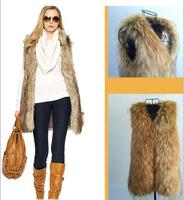 Retail In Stock 3XL 2014 New Fashion Winter Lady Women Warm Slim Sleeveless Faux Fox Fur Vest  H0140820