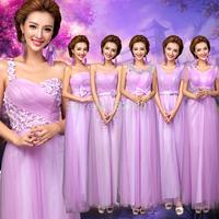 new 2014 china free shipping Purple Diamond Flower paragraph long bridesmaid dress vestido de festa dress to party