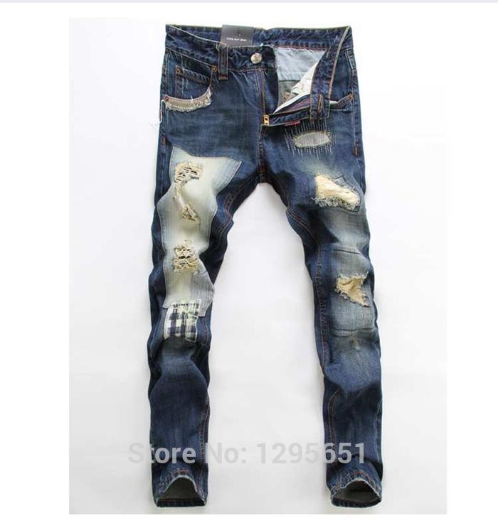 Online Cheap Wholesale Light Blue Men Ripped Jeans Casual Cotton ...