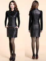 2014 Autumn Unique Women Slim PU Leather Long Sleeve Metal Belt Dresses Female Sexy Puff Sleeve Elegant Fashion Mini Dress