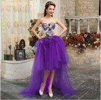 Fashionable Front Short Back Long Purple Short Wedding dress 2014 romantic mermaid wedding dresses vestidos de noiva gown W87