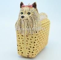 2014 Dog Design New Arrival Crystal Clutch Handbag Free Shipping S08141