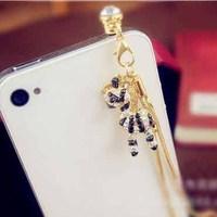 New Beautiful Korean Zebra Anti Dust Plug Mobile Phone 3.5mm Ear Jack Cap DIY Jewelry Wholesale  SP069