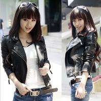 2014 New  Women Winter Motorcycle Leather Jacket Coat S-XXL 5 Sizes Short Paragraph Diagonal Zipper outerwear coats