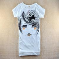 2014 summer women's cartoon long eyelashes loose long design slim o-neck short-sleeve T-shirt SZB-3002