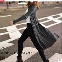 Free shipping Outside 2014 new fashion women long knit cardigan sweater coat long section of the ride