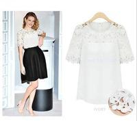 LvKong round collar short sleeve chiffon unlined upper garment of bud silk shirt