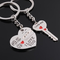 FreeshipbyEMS wholesale190pc heart key shape Innovative novelty lover couple Keychain Souvenir promotion wedding favor gift 5000