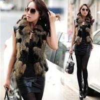 Free Shipping Women's Winter Fur Coat. Fashion Hit Color Leopard Fur Sleeveless Jacket. PU Leather Stitching Simulation Fox vest