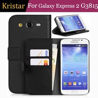 50pcs/lot Card Slot Book Style Leather Case with Stand For Samsung Galaxy Express 2 G3815 Free Shipping