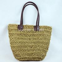 Women's handbag portable beach bag woven bag straw rattan bag handmade