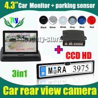 "3in1 HD CCD Car rear view parking camera EU Car License Plate Frame for European Car  + 4.3"" car monitor + Parking sensor system"