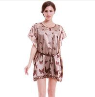 2014 New Faux Silk Butterfly Pattern Sleepwear Gown Dress Pajamas Robe Women  free shipping hot sales