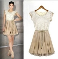 2014 New Style European And American Plus Size Occident Style Scoop Neck Lace Splicing Short Sleeve Women's Dress In Summer