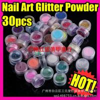 New 30 Different Colors HOLOGRAPHIC GLITTER POTS FINE HIGH QUALITY HUGE RANGE OF COLOURS NAIL ART CRAFT , 30pots/set