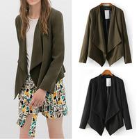 2014 New Autumn Women's Fashion Solid Color Irregular Lapel Collar No button Casual Slim fit Cardigan Blazer Suit Jacket Tops