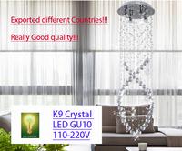 Chandelier Crystal K9 LED Light Free shipping+led bulb GU10 Helix Design Dining room hotel Foyer Save Energy Quality D500mm