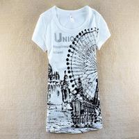 New 2014 summer new women's Korean version of the cartoon Ferris wheel Slim Short sleeved T-shirt SZB-5016