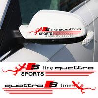 Free Shipping !1 Pair 2 Colors Car Sports Decal Car Rearview mirror Sticker For AUDI A4 A6 A8 Q5 Q7 TT Sline