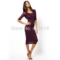 2014  Smss ink landsides o-neck slim hip lace black red three quarter sleeve one-piece dress 0101911
