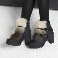 2014 female botas de inverno autumn winter women's shoes brand Sexy PU leather rabbit fur short boots thick heel pumps platform