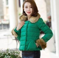 new 2014 outerwear  cotton-padded jacket slim waist medium-long wadded jacket winter women outerwear thick Down coat hood parka