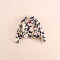 free shipping little baby girl brand design floral short jackets zipper coat 1-5 years