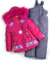 DT0149 Children's Winter Clothing Set Baby Girl Ski Suit Kids Sets Windproof Flower Warm Coats Fur Jackets+Bib Pants+Wool Vest