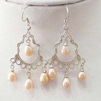 free shipping 7-8MM drop natural freshwater pearl dangle earring 524/