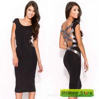Black round collar backless bandage hip sexy dress pencil designer dresses SDR# 33