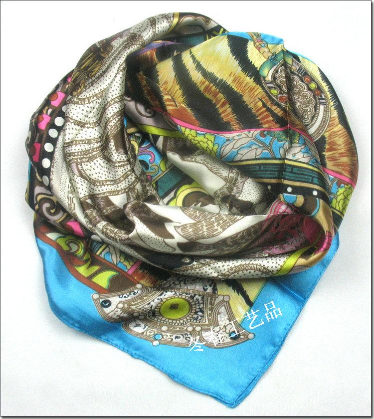 Free shipping2014 Big Size 90x90cm Silk Square Head Scarf Women Fashion Brand High Quality Silk Scarves Polyester Shawl(China (Mainland))