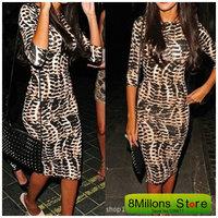 European 2014 autumn round collar 7show thin package hip dres designer dress SDR# 36