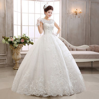vestidos de novia 2014 new white fashion ball gown scoop neck sheer lace beaded wedding dress bridal gown