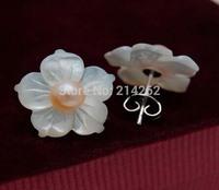 free shipping 4-5MM freshwater pearl & sea shell pearl flower shape earring studs 534/