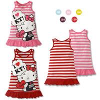 girls kt dress New fashion hello kitty cartoon striped vest dress girl princess dress KT baby girls cloth free ship Q09269