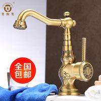Vintage copper basin faucet cold and hot water fashion antique copper basin la10120