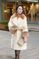 2014 new winter Imitation fur coat long longer women coat lapel turn-down collar overcoat keep warm white faux raccoon coat