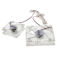 2Pcs 120mm 4 LED Blue Fans Case Cooling for all Computer PC Appliances Free Shipping