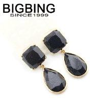 BigBing jewelry Fashion Black crystal beads Stud Earrings texture stud earring good quality  nickel free B448