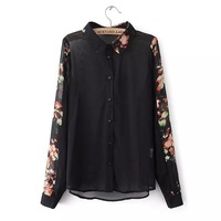2014 new fashion women vintage elegant flower printed brand design blouse Lady casual sexy perspective chiffon shirt #E800