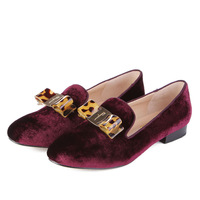 new women winter shoes high quality genuine leather footwear handmade flats fashion design golden bow tie wine red color shoes