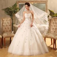 The new 2014 spring and summer wedding dress Korean Korean retro white Bra princess bride